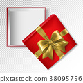 Red gift box with gold ribbon and bow - top view 38095756