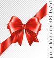 Red corner ribbon with Bow - Vector design element 38095761