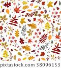 Seamless Autumn leaves pattern Vector design 38096153