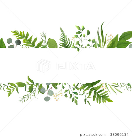Vector floral greenery card design with leaves 38096154