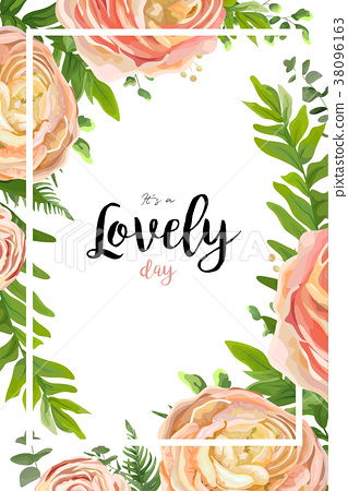 Vector floral watercolor style card design 38096163