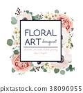 Vector floral card design: garden pink rose flower 38096955