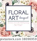 Vector floral card design: garden pink rose flower 38096959