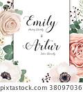 Floral Wedding elegant invite card vector Design 38097036