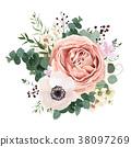 Floral card vector Design withl lavender roses 38097269
