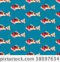 Carp on Indigo Blue Background 38097634
