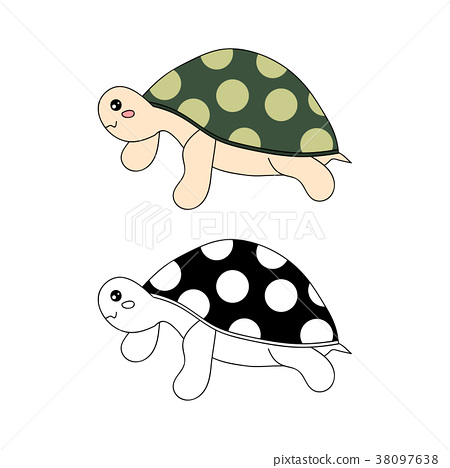 Cute Turtle Vector Illustration. 38097638