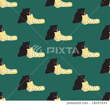 Black panther and Leopard on Green Background 38097644