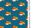 Cute Goldfish on Indigo Blue Background 38097650
