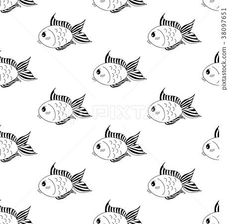 Cute Goldfish on White Background 38097651