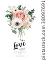 Vector floral card design: Rose peach pink flowers 38097691