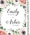 Floral Wedding elegant invite card vector Design 38097697