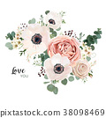 Floral card vector Design with pink flowers 38098469
