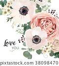 Vector floral card design with flowers, leaves 38098470