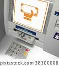 ATm machine with banknotes in the money slot 38100008
