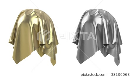 Set of spheres covered with fabric 3d illustration 38100068