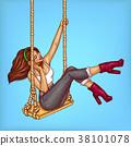 Vector pop art girl on swing with headphones 38101078