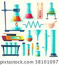 Vector cartoon laboratory equipment, glassware set 38101097