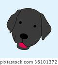 cartoon illustration of black labrador dog 38101372