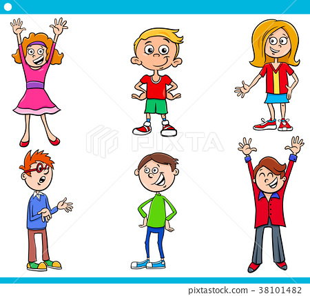 elementary age children characters cartoon set 38101482