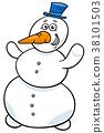 snowman, cartoon, illustration 38101503