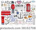 London city doodles Hand drawn set vector 38102708