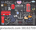 London city doodles Hand drawn set vector 38102709