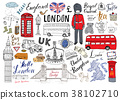 London city doodles Hand drawn set vector 38102710