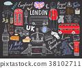 London city doodles Hand drawn set vector 38102711