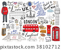 London city doodles Hand drawn set vector 38102712