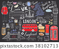 London city doodles Hand drawn set vector 38102713