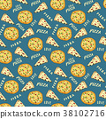 pizza, pattern, vector 38102716