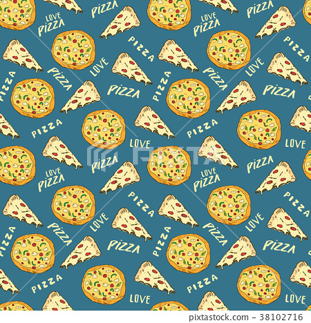 Pizza seamless pattern hand drawn sketch Vector  38102716