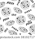 Pizza seamless pattern hand drawn sketch Vector  38102717