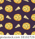 pizza, pattern, vector 38102726