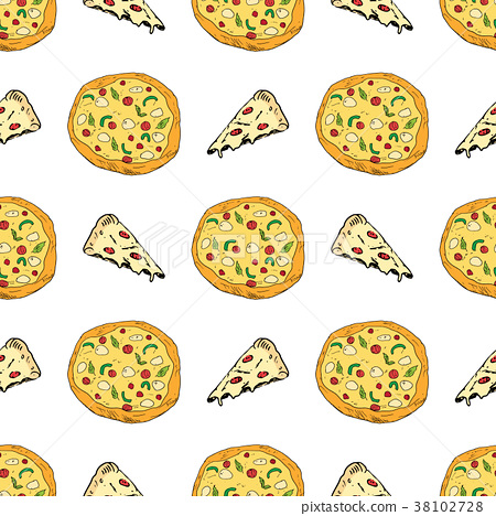 Pizza seamless pattern hand drawn sketch Vector  38102728