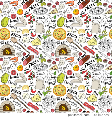 Pizza seamless pattern hand drawn sketch Vector  38102729
