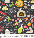 pizza, pattern, vector 38102730