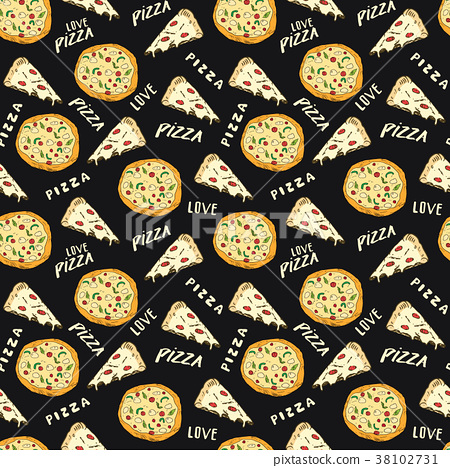 Pizza seamless pattern hand drawn sketch Vector  38102731