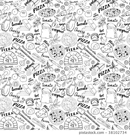 Pizza seamless pattern hand drawn sketch Vector  38102734
