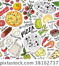 pizza, pattern, vector 38102737