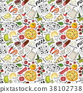 pizza, pattern, vector 38102738