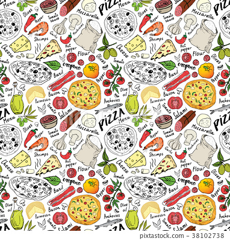 Pizza seamless pattern hand drawn sketch Vector  38102738