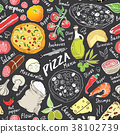 pizza, pattern, vector 38102739