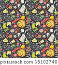 pizza, pattern, vector 38102740