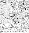 pizza, pattern, vector 38102741