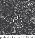 pizza, pattern, vector 38102743