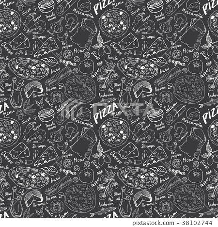 Pizza seamless pattern hand drawn sketch Vector  38102744