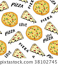 pizza, pattern, vector 38102745