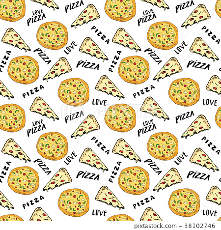 Pizza seamless pattern hand drawn sketch Vector  38102746